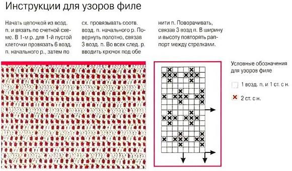 Вязание схема филейной сетки